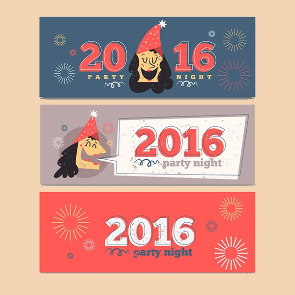 Hand drawn funny new year banners