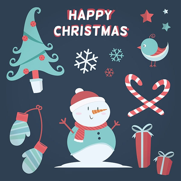 happy christmas elements in lovely style
