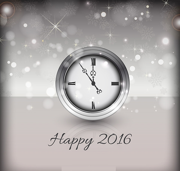 Happy New Year Backgroundwith Clock