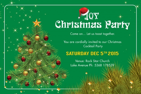 Joy Christmas Party Invitation Card