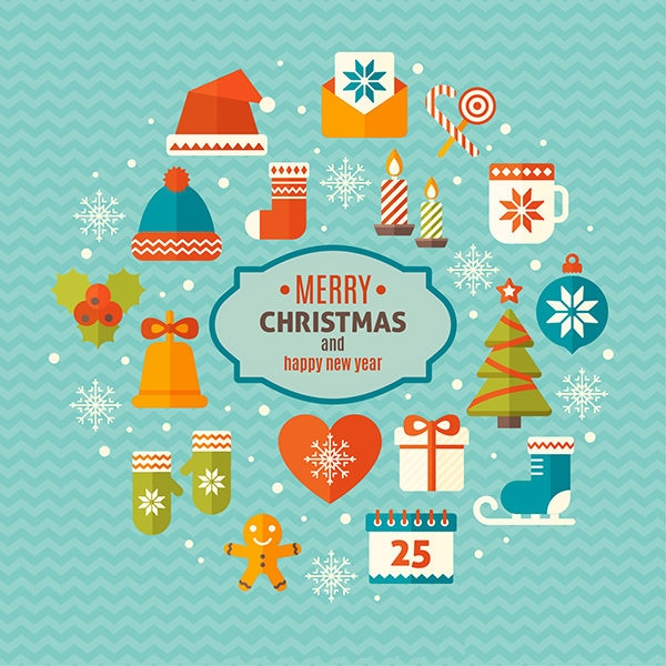 merry christmas vector elements