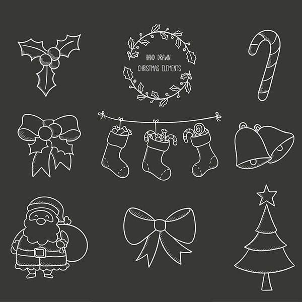 Neatly Drawn Christmas Elements