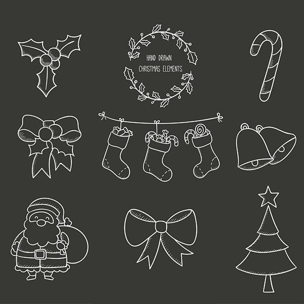 neatly drawn christmas elements