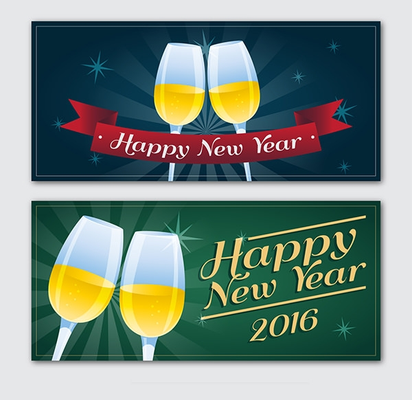 New Year champagne banner