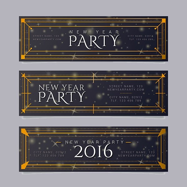 New year retro party banners