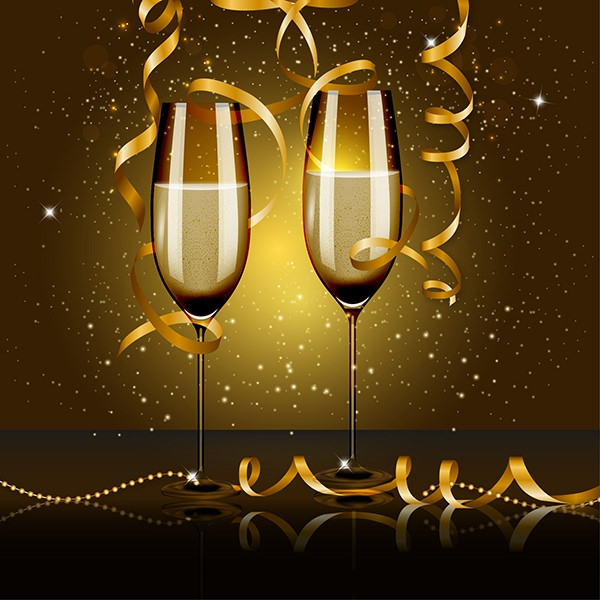 newyear eve party with wine glass