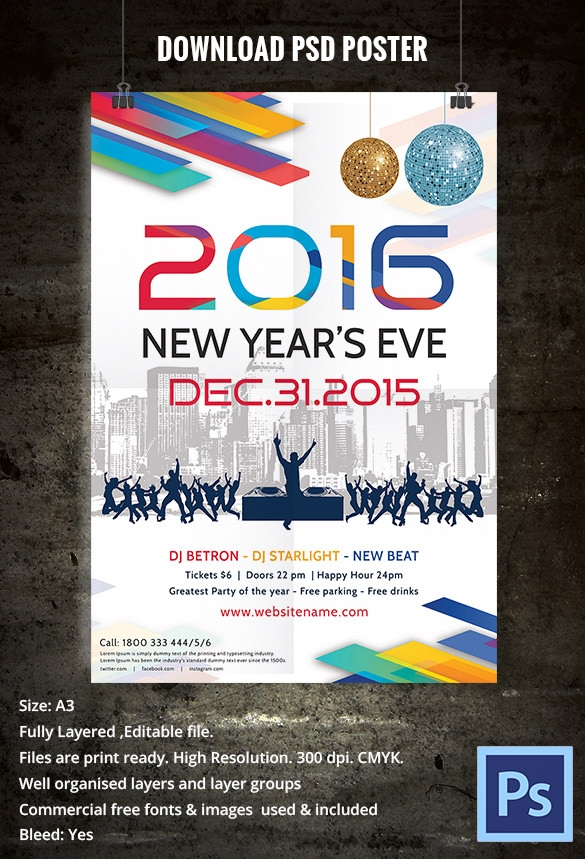 free psd new year party poster designs