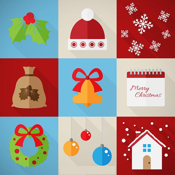 very flat happy christmas elements