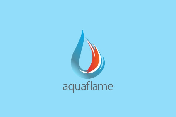 Aqua Flame Logo Design