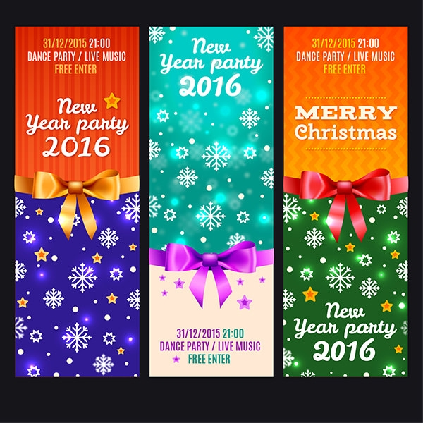bright colorful new year party banners