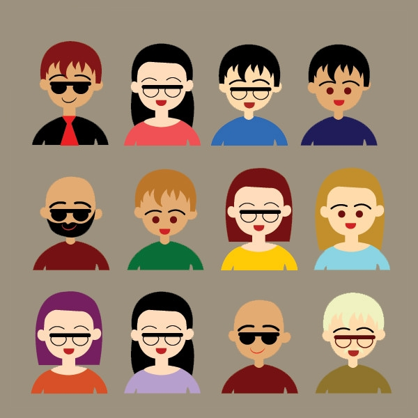 cartoon styled user icons free vector