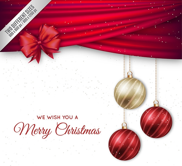 christmas background with elegant baubles