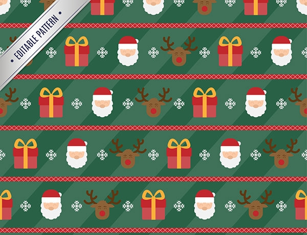 christmas pattern with santa claus and reindeer