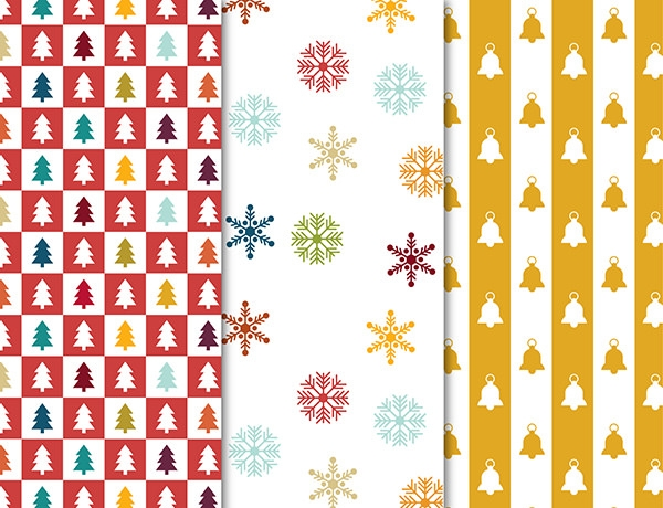 christmas snowflakes and bell pattern