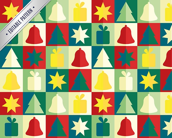 colorful christmas icons pattern