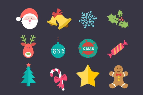 flat-christmas-icon set psd