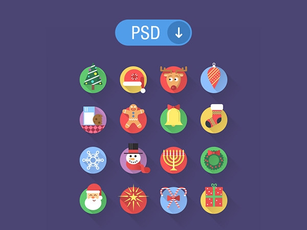 flat christmas icons for free download