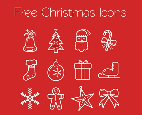free-lined christmas-icons