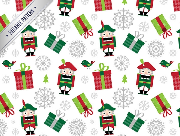 free vector christmas pattern with gifta and nutakes