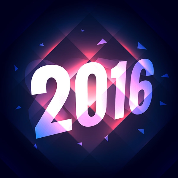 geometric new year background with shiny lights