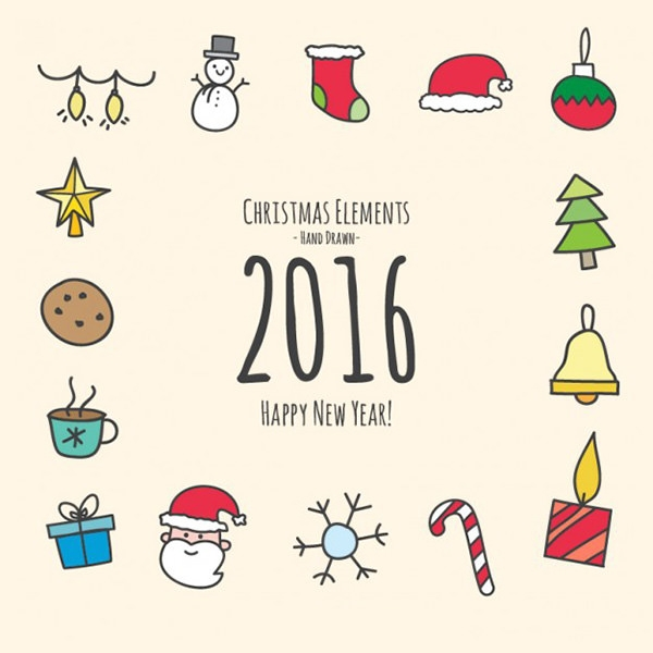 hand drawn christmas and new year elements vector