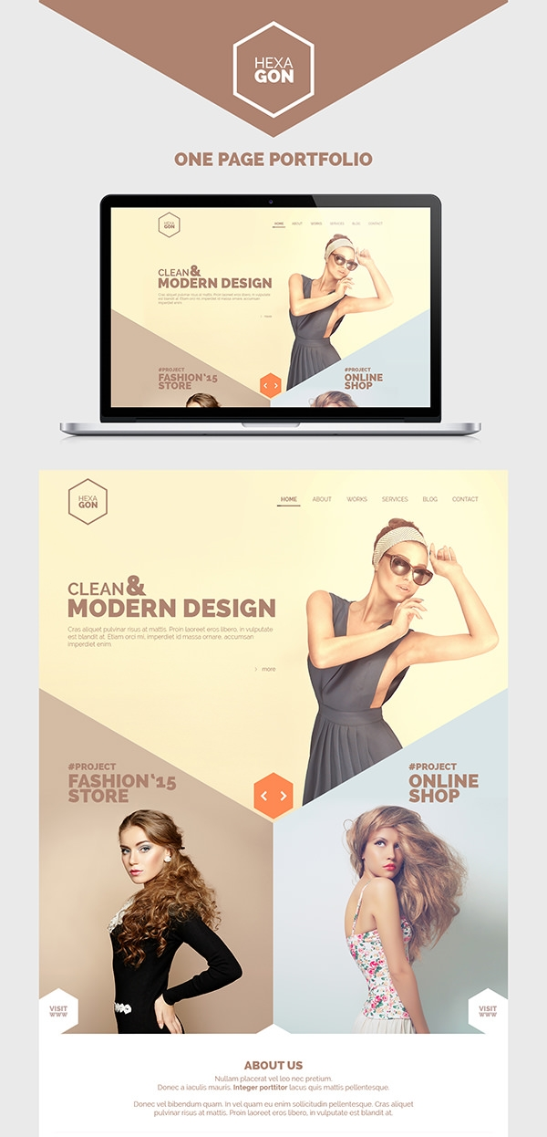 hexagon portfolio template psd