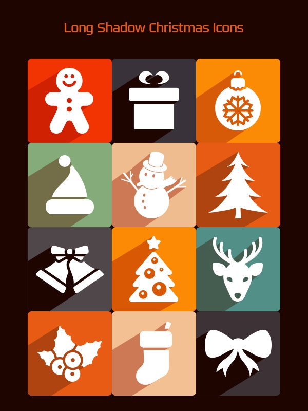 long shadow free psd christmas icons pack