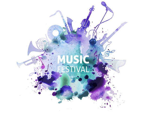 music festival in watercolor style