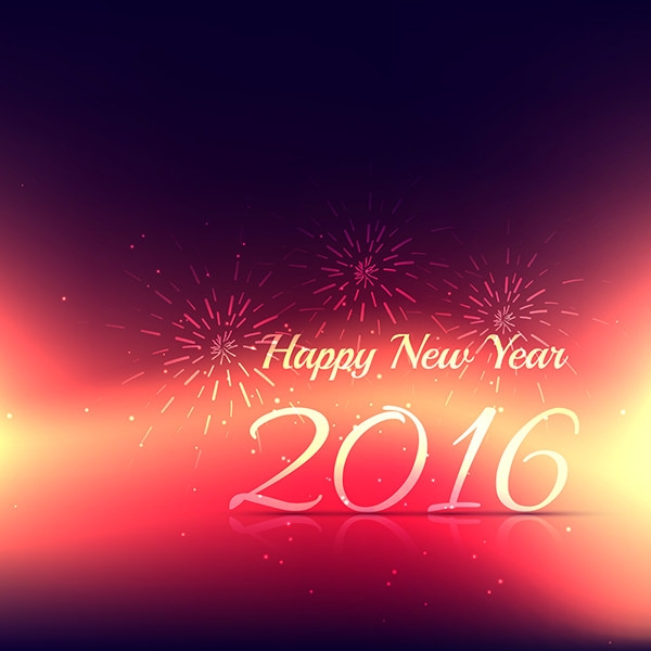 new year 2016 card with fire works