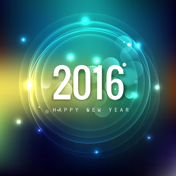 new year 2016 card with shiny circles