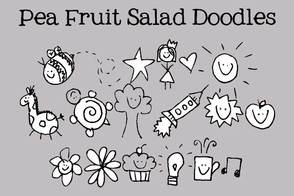 peas fruit and salad font