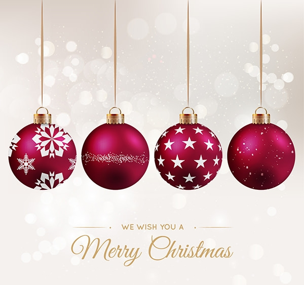 red baubles christmas background free vector