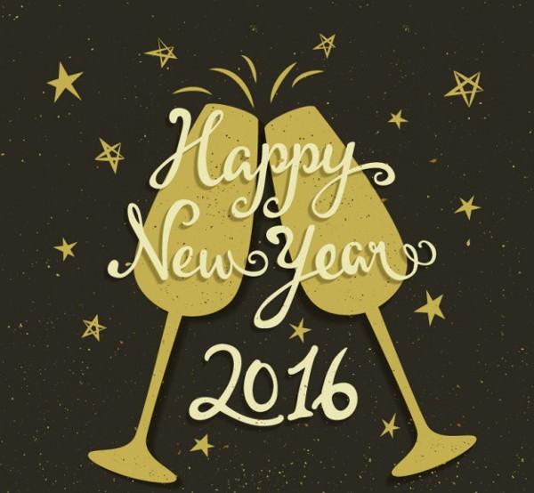 retro new year toast background