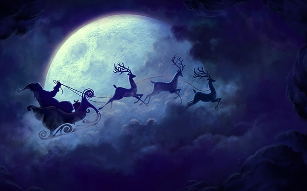 santa_claus_moon-wide screen desktop wallpaper