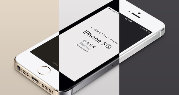 3D View iPhone 5s free psd vector mockup