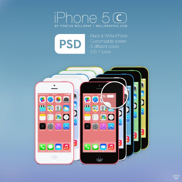 Apple iPhone 5c Presentation Mockup PSD
