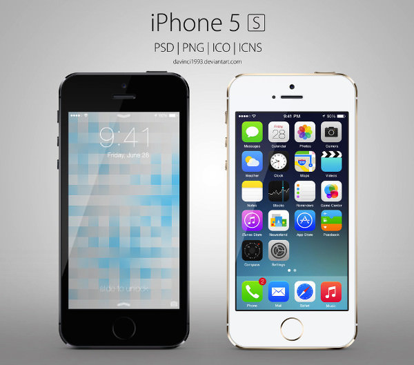Apple iPhone 5s PSD Mockup with Customizable Layers