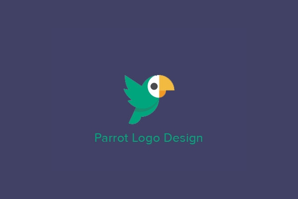 Awesome Flat Parrot Logo Design
