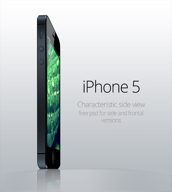 Characteristic Side View iPhone 5 Mockup PSD