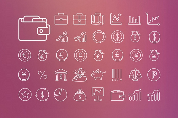 Finance-outline-vector-icons-set