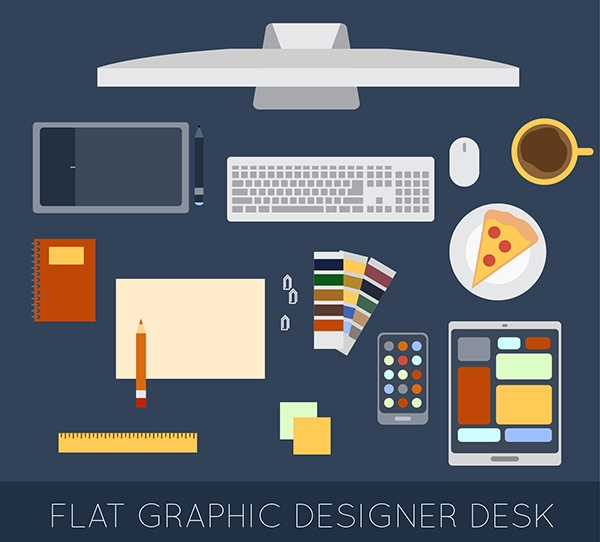 Flat-Graphic-Designer-Desk-Elements