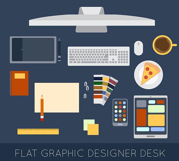 Flat-Graphic-Designer-Desk-Elements