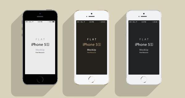 Flat iPhone 5s free psd mockup