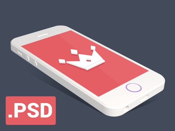 Flat iPhone 5s mockup in Isometric View