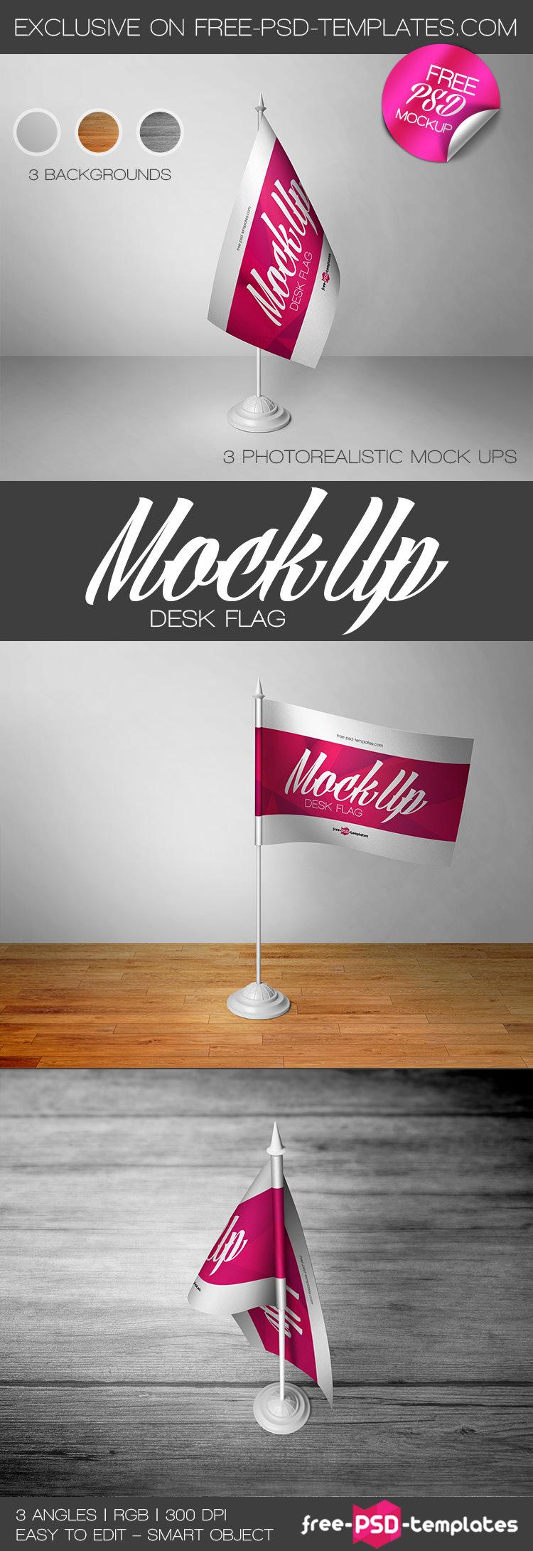 free desk flag mockup