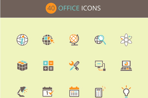 Free Flat PSD Office Icons