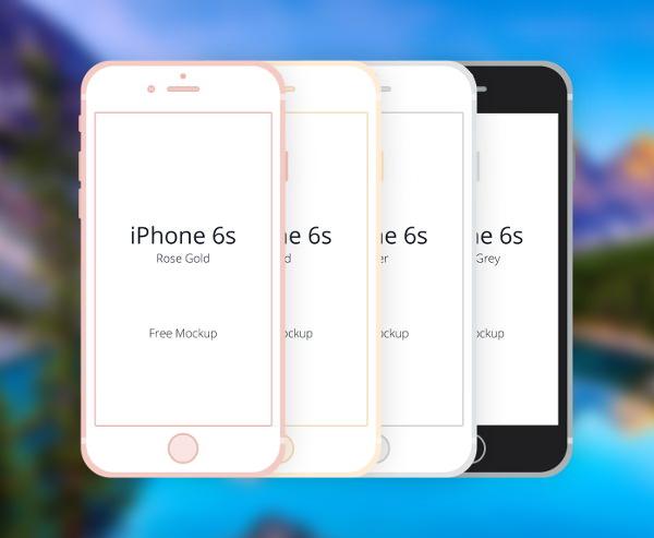 Free Flat iPhone 6S Mockup PSD