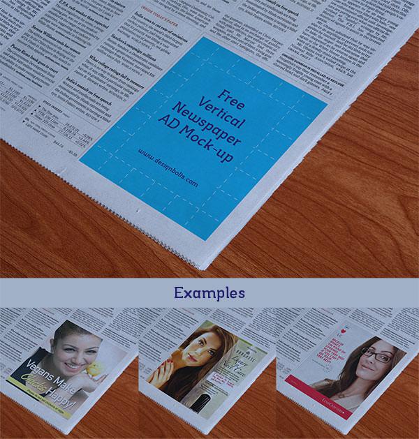 free newspaper vertical ad mockup psd