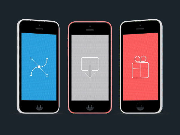 Free PSD Colorful iPhone 5C Mockup