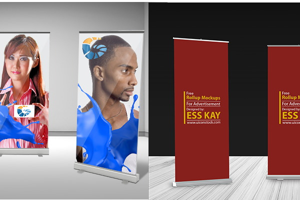 Free PSD photorealistic roll up Banner mockups